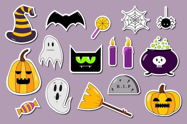 Colección de pegatinas de halloween con palo de escoba de gato de murciélago de caramelo de calabaza fantasma Vector Premium