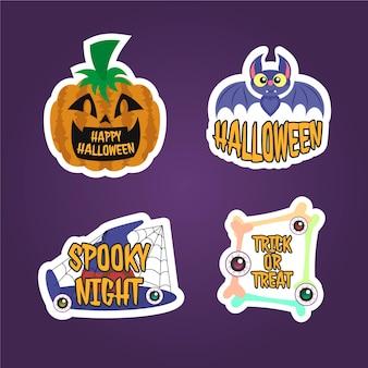 Colección pegatinas insignias halloween dibujos animados diseño plano dibujado mano