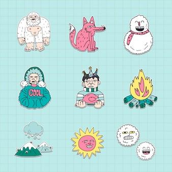 Colección de pegatinas de invierno dibujadas a mano