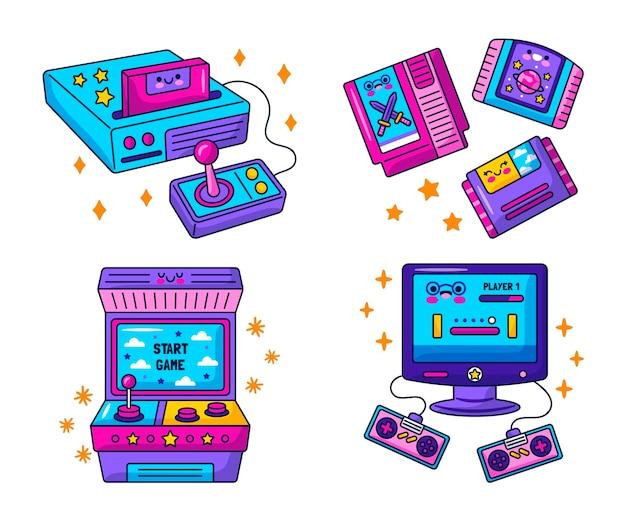 Colección de pegatinas kawaii de videojuegos retro