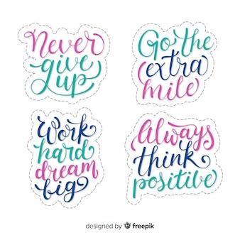 Colección de pegatinas de letras motivacionales