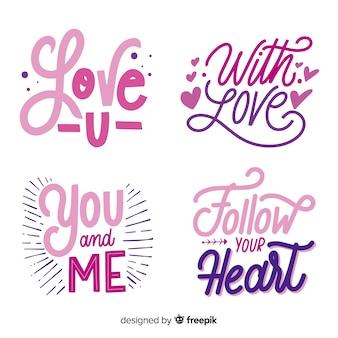Colección pegatinas lettering día de san valentín