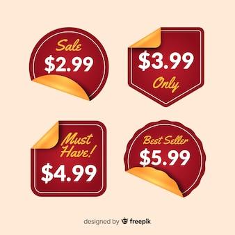 Colección pegatinas listas de precios diseño plano