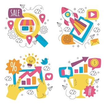 Colección de pegatinas de marketing dibujadas a mano