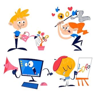 colección de pegatinas de marketing de dibujos animados retro