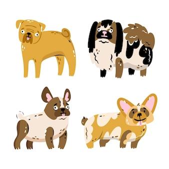 Colección de pegatinas de mascotas dibujadas a mano