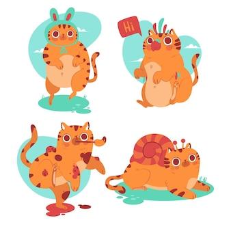 Colección de pegatinas de mascotas gato dibujadas a mano