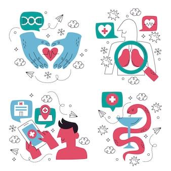 Colección de pegatinas médicas creativas.