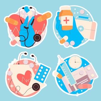 Colección de pegatinas médicas ingenuas