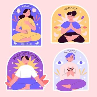 Colección de pegatinas de meditación ingenua