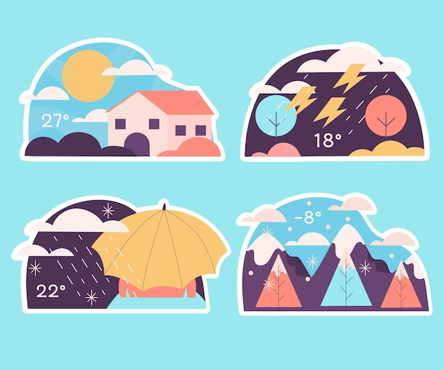 Colección de pegatinas meteorológicas ingenuas
