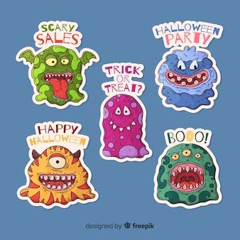 Colección de pegatinas de monstruos de halloween