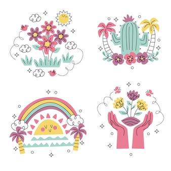 Colección pegatinas naturaleza dibujadas a mano