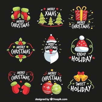 Colección de pegatinas de navidad dibujadas a mano