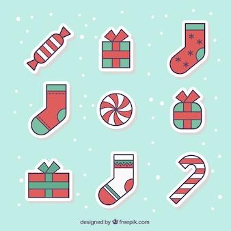 Colección de pegatinas de navidad