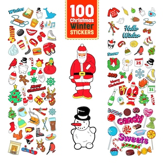 Colección de pegatinas navideñas