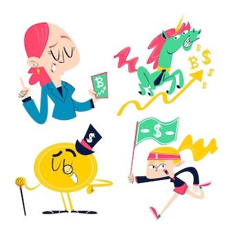 Colección de pegatinas de negocios de dibujos animados retro
