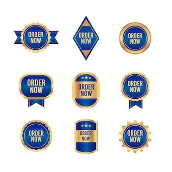 Colección de pegatinas order now con tonos azules y dorados