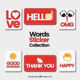 Colección de pegatinas con palabras creativas