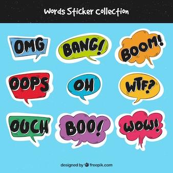 Colección de pegatinas con palabras