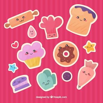 Colección de pegatinas de panadería en estilo plano