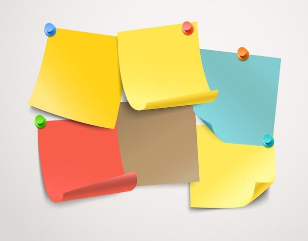 Colección de pegatinas de papel de diferentes colores. plantilla para un texto