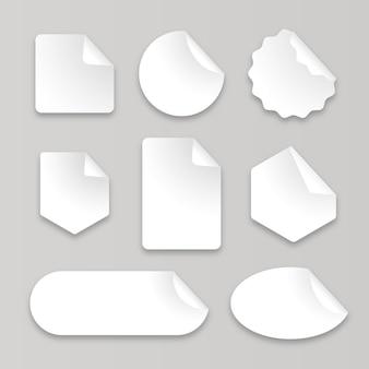 Colección de pegatinas de papel realistas.