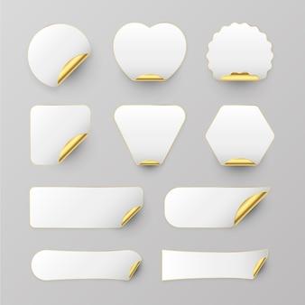 Colección de pegatinas de papel realistas