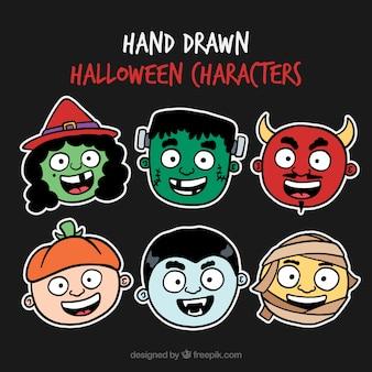 Colección de pegatinas de personajes de halloween dibujados a mano