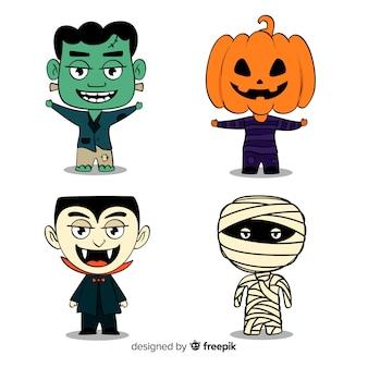 Colección de pegatinas de personajes de halloween