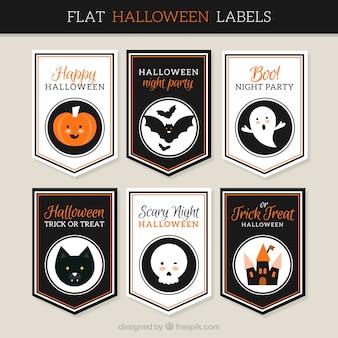 Colección de pegatinas planas de halloween