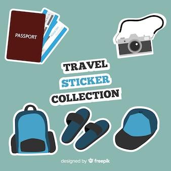 Colección pegatinas planas viaje
