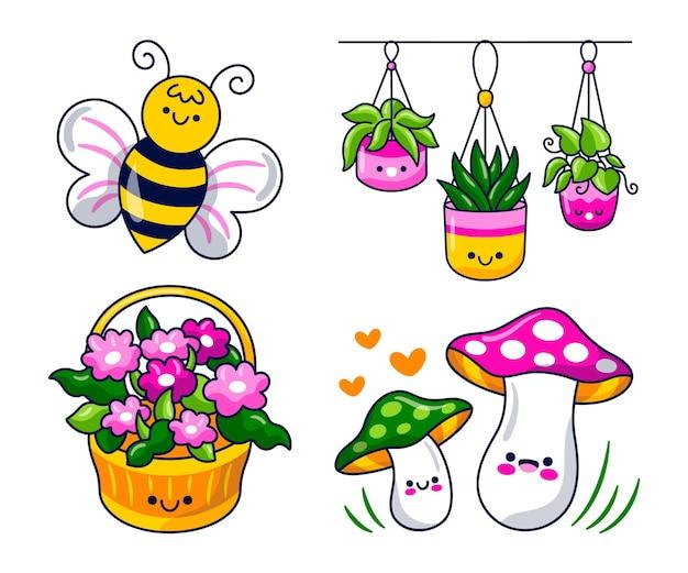 Colección de pegatinas de primavera estilo kawaii