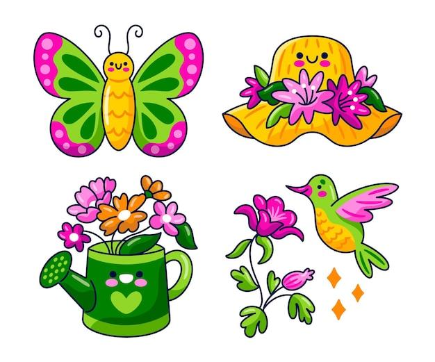 Colección pegatinas primavera kawaii