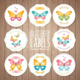 Colección de pegatinas redondas vintage de mariposas