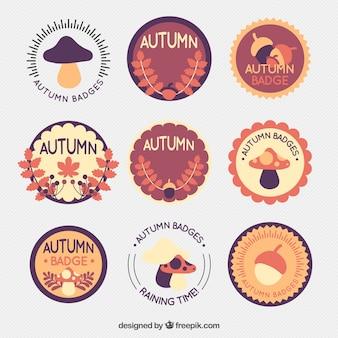 Colección de pegatinas redondas vintage de otoño