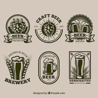 Colección de pegatinas retro de cerveza