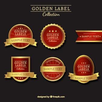 Colección de pegatinas rojas y doradas lujosas