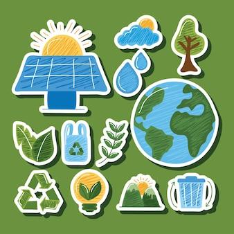 Colección de pegatinas sostenibles