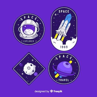 Colección de pegatinas de tema espacial