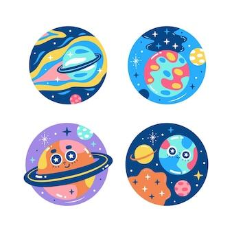 Colección de pegatinas de universo colorido