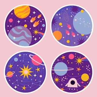 Colección de pegatinas del universo ingenuo