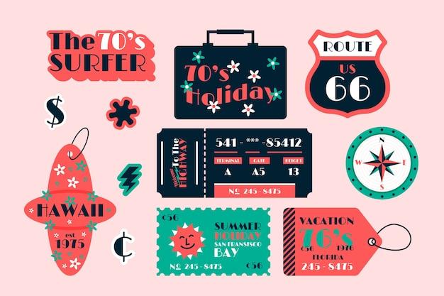 Colección de pegatinas de vacaciones en estilo años 70