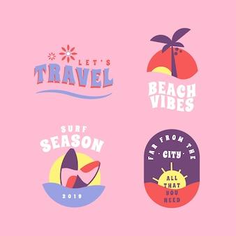 Colección de pegatinas de vacaciones en estilo retro