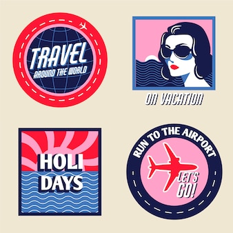 Colección de pegatinas de vacaciones en estilo vintage
