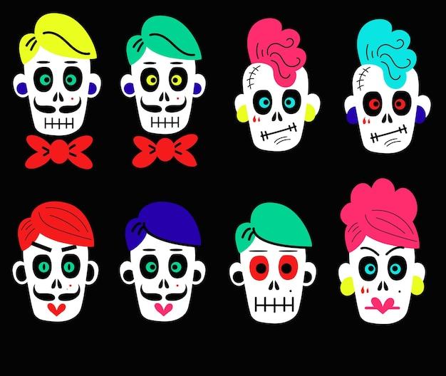 Colección de pegatinas de vector de divertidos dibujos animados coloridos calaveras de diferentes tipos sobre fondo negro ... Vector Premium