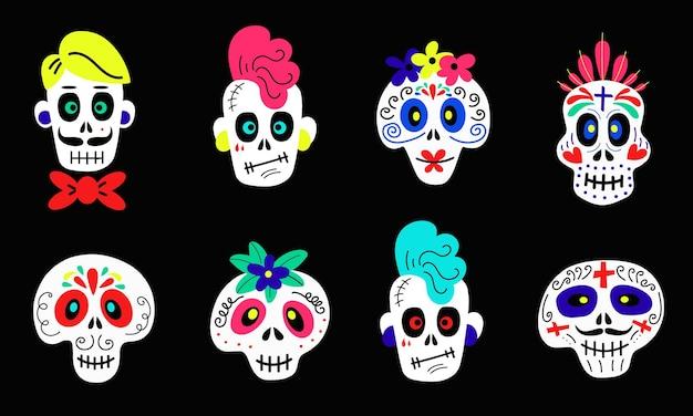Colección de pegatinas de vector de divertidos dibujos animados coloridos calaveras de diferentes tipos sobre fondo negro ...