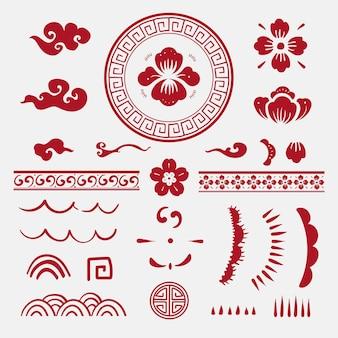 Colección de pegatinas de vector rojo de flores chinas