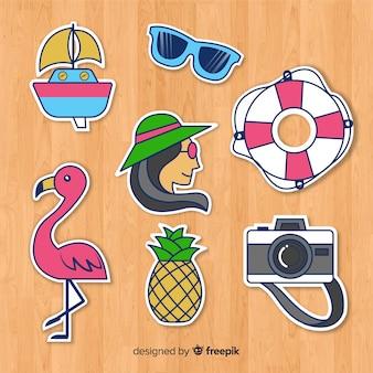 Colección de pegatinas de verano coloridas dibujadas a mano