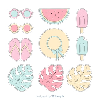 Colección de pegatinas de verano coloridas